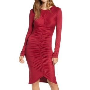 Leith Ruched Front Dress Red Large